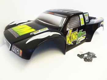 Short Course Truck Body T1000 GT (black/green) Fits HPI Baja 5SC