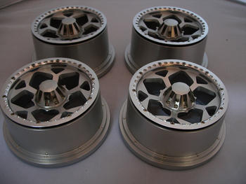 King Motor T1000 Truck EX Aluminum Hunter Rims with Nuts (set of 4) (silver)