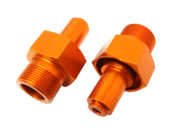Aluminum 24mm Hex Front Baja Wheel Hubs (orange)