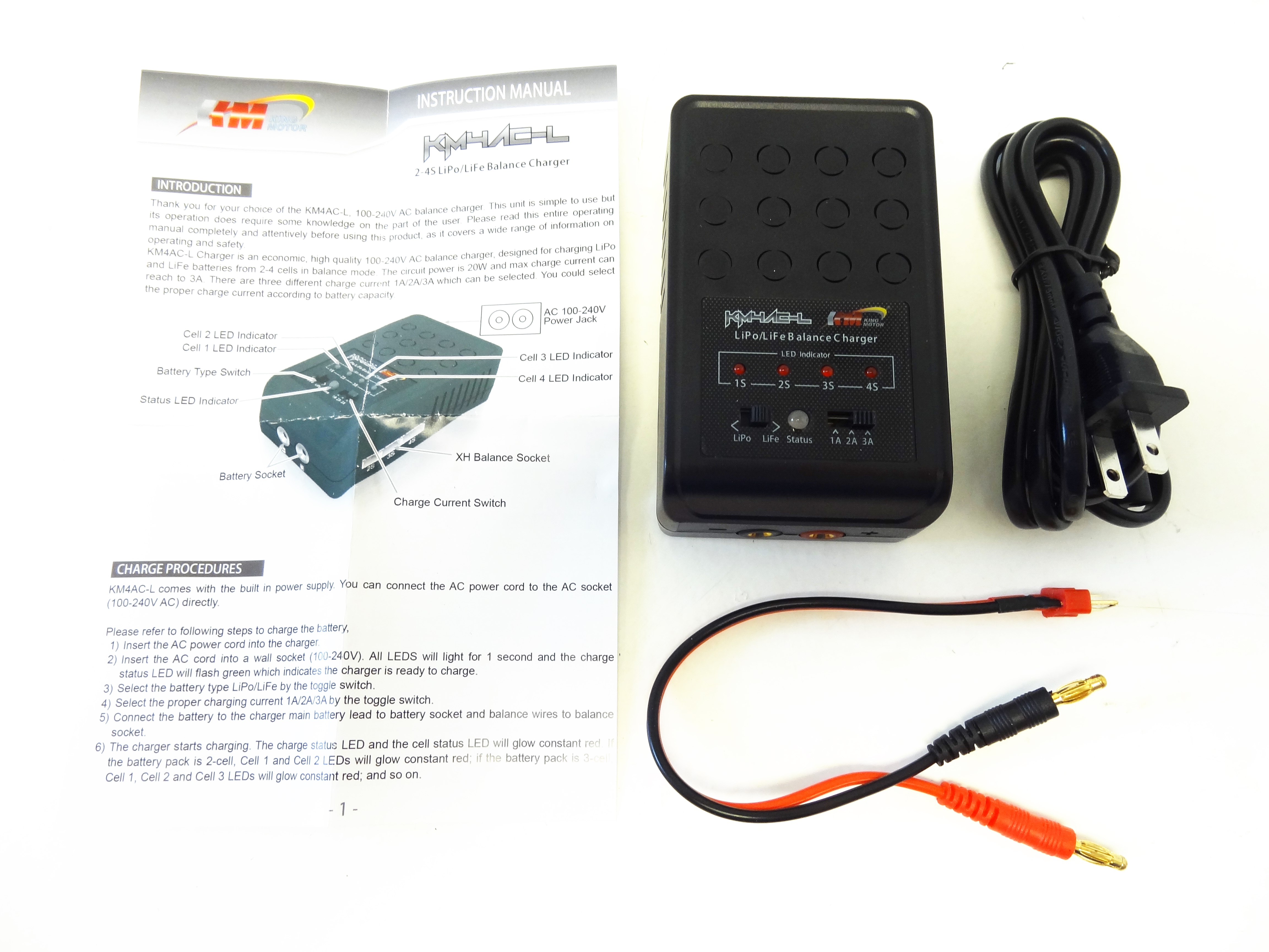 KM4AC-L 1s 2s 3s 4s LiPo LiFe Balancing Charger AC 3 Amp (12v/240v)