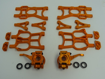 T2000 Aluminum Suspension A-Arms, Front Hubs, Steering Arms (orange)