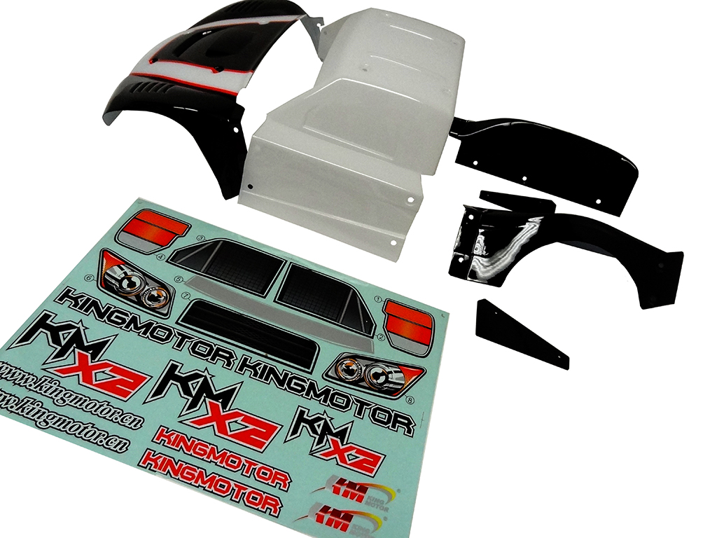 King Motor X2 Short Course Truck Body Kit (black / white)