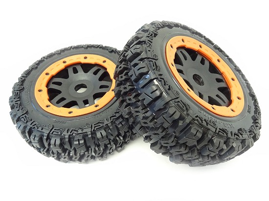 T1000 GT Front Pioneer Knobby Tires/Wheels (Orange)